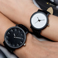 2016 Unisex Simple Style Leather Strap Watches Men Watch For Lovers Black Brown Lady Quartz Sport