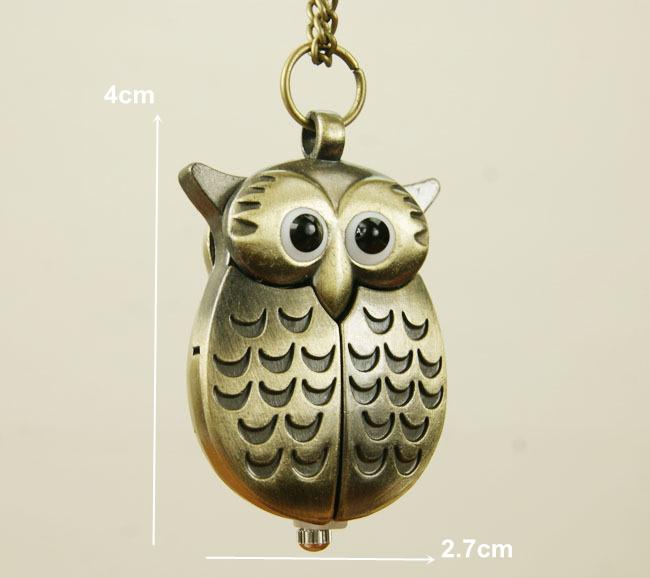 Vintage Owl pocket watches Unique antique fashion alloy vivid pendent necklace quartz watch women dress accessories