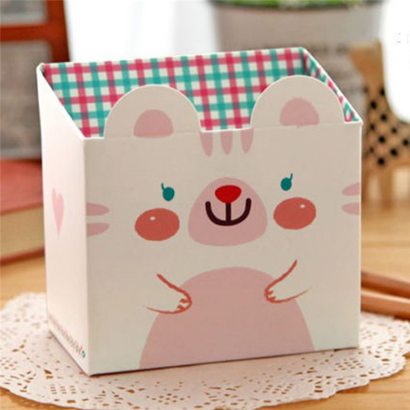 Cute Cartoon Cat Makeup Cosmetic Desk Paper Stationery Organizer DIY Storage Box 2015 NEW 018(China (Mainland))