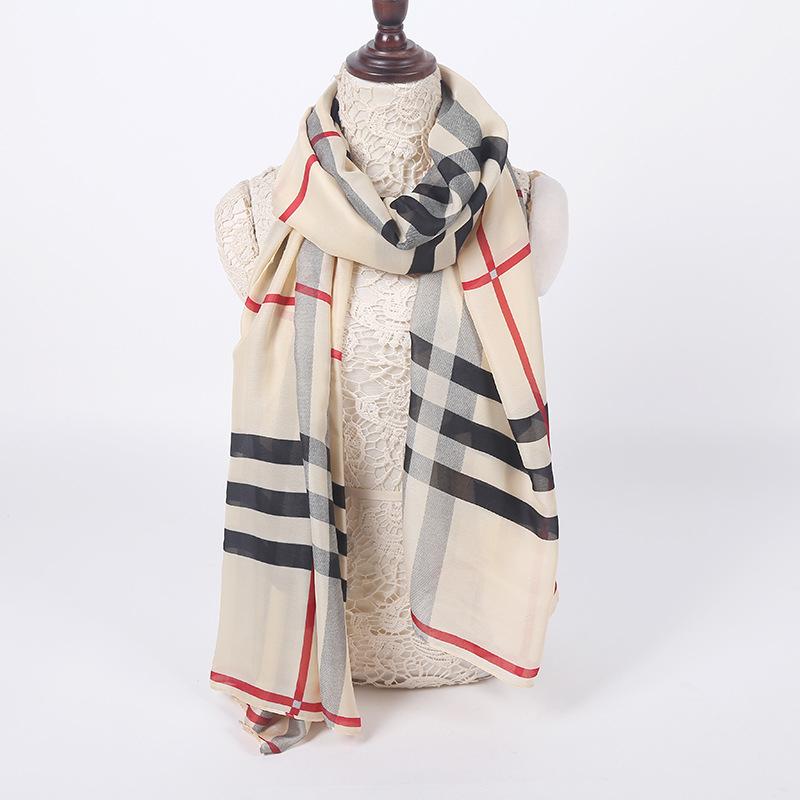 180x100 British Plaid Silk Square Scarf Brand Women Shawls font b Tartan b font Foulard carre