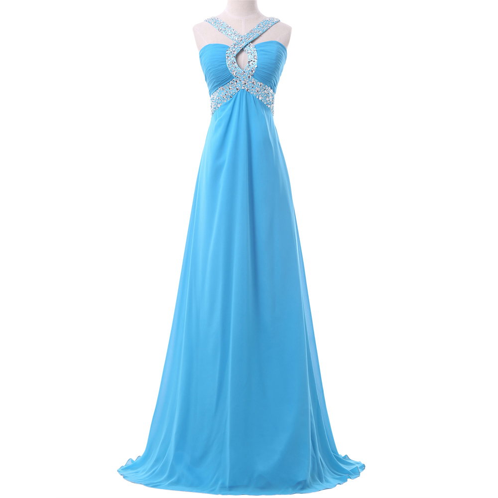 Popular Sexy Open Back Chiffon Formal Long Prom Dresses Blue Backless Evening Party Gown Fitted Women Summer 6153 - Grace Karin Dress Co. Limited store