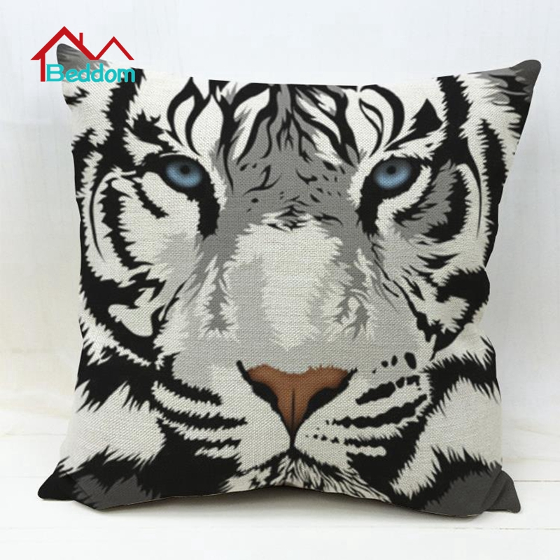 Beddom Tiger Throw Pillow Animal Cotton Cushion Printing 45x45cm Decorative Throw Pillow PP Cotton Filler Bed Sofa Car Office(China (Mainland))