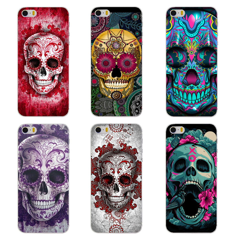 Stained Skull Head phone Case for Apple iPhone 6 6s 5 5s SE 5c 4 4s 6 plus cover hard plastic coque(China (Mainland))