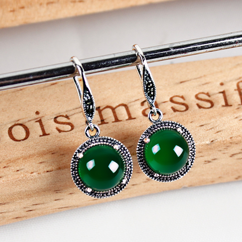 Silver 925 Silver Jewelry Yellow / green chalcedony agate pendant earrings earrings retro round female old silversmith(China (Mainland))