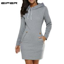 Buy EIFER 2017 Warm Winter High Hooded Dresses Pocket Long Sleeved Casual Mini Dress Sportwear Women Clothings for $11.91 in AliExpress store