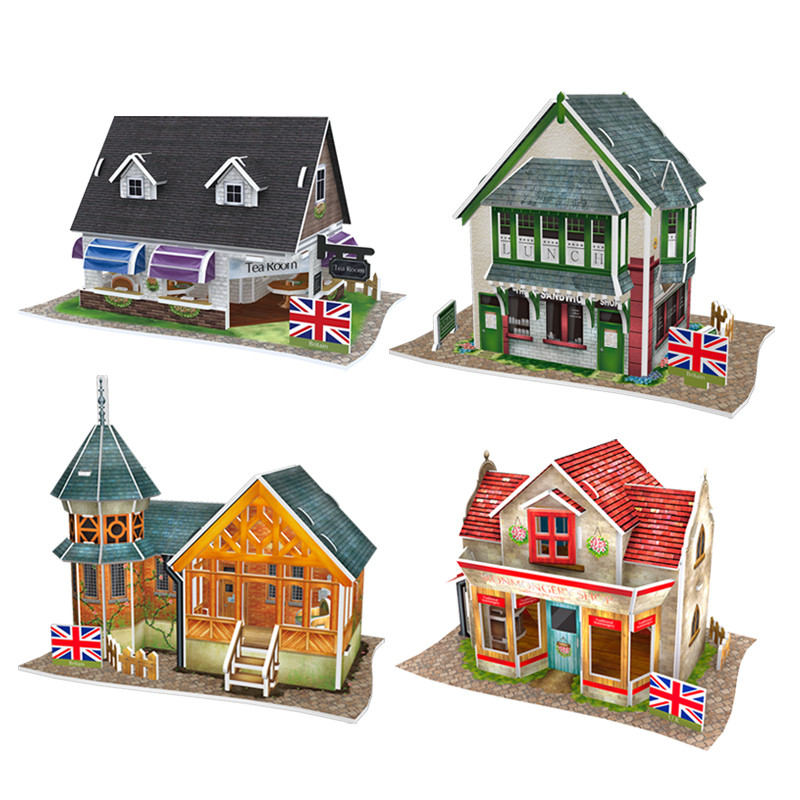 Cubic Fun 3D Puzzle DIY World Style Paperboard Model, Architectural Features Britain Flavor Puzzle 3D Model, Toys For Children(China (Mainland))