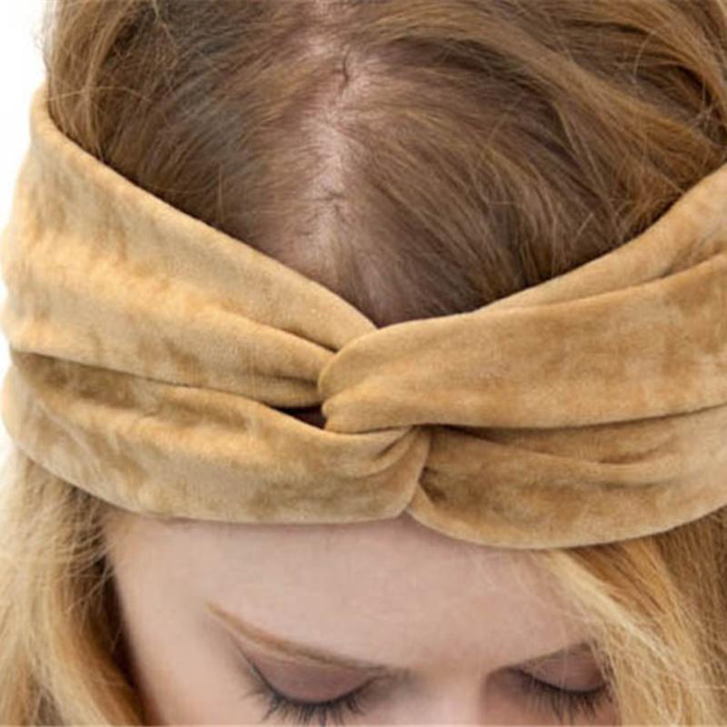 Richkoko New Fashion Winter Solid Female Headbands Brief Style Hair Accessories Women Hats Casual Head Warp Bowknot Headgear
