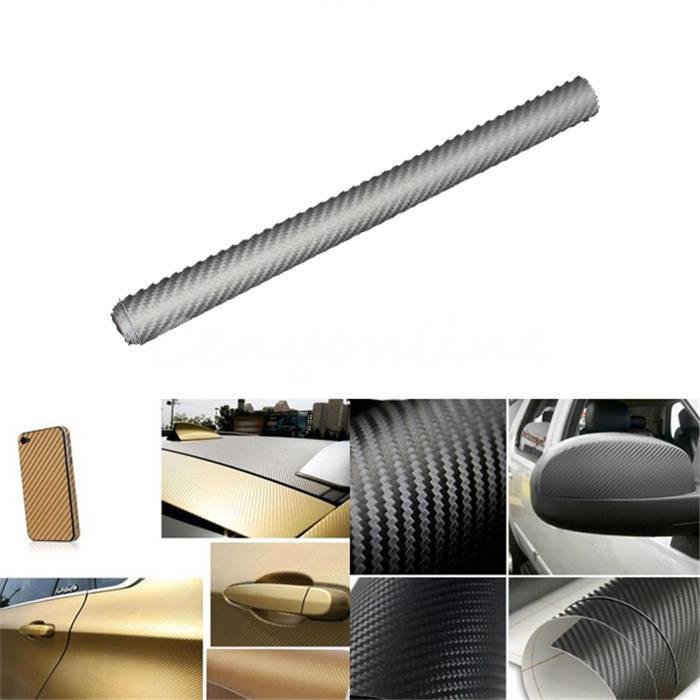 New Arriva Silver High Quality 3D Car Sitcker DIY 30x127CM 3D Carbon Fiber Decal Vinyl Roll Adhesive Car Sticker Sheet Film Wrap(China (Mainland))
