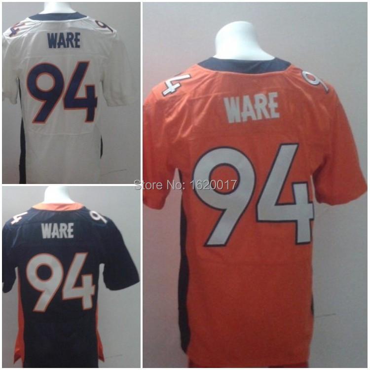 Free Shipping Wholesale American Denver 94 DeMarcus Ware Jersey Elite Blue/White/Orange Football Jersey(China (Mainland))
