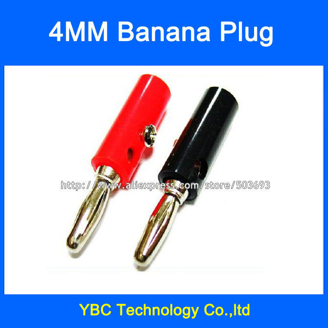 Free Shipping 50pcs/lot 4mm Banana Plug Lantern Connector Jack Screw-type Banana Head Black and Red Color<br><br>Aliexpress