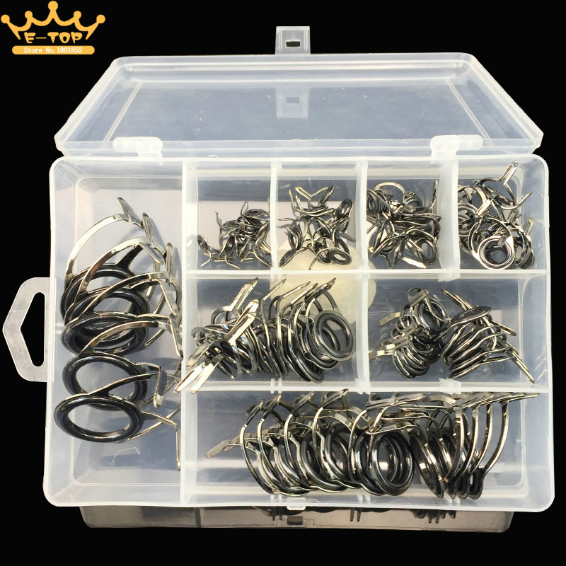 75PCS Fishing Casting Spinning Rod Guide Set Stainless Steel and Ceramic Guide Hole Over Wire Loops Suit Fishing Rod Fittings(China (Mainland))