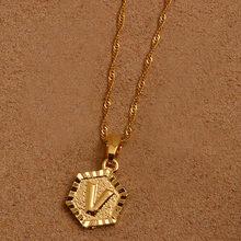 Anniyo A-Z lettres or couleur pendentif à breloque colliers pour femmes filles anglais initiale Alphabet chaîne bijoux meilleurs cadeaux #114006(China)