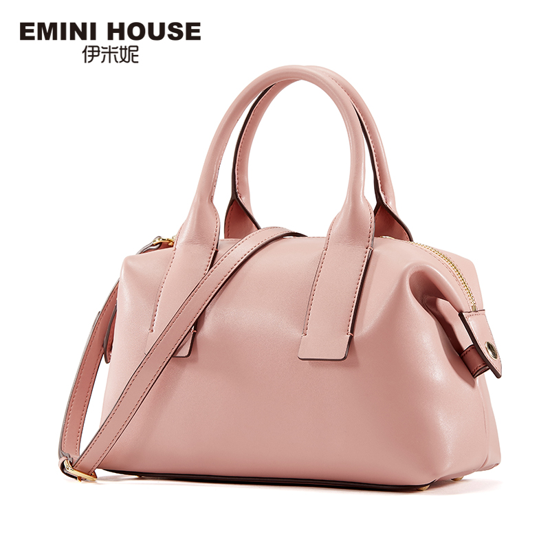 EMINI HOUSE 2016 Fashion Split Leather Boston Bag Women Messenger Bags Shoulder Bag Crossbody Bags For Women Luxury Handbags(China (Mainland))