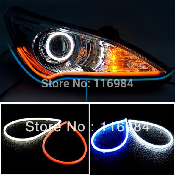 2 X 30cm DIY White+Amber Flexible Strip Turn Signal Tube Angel Eye DRL LED Daytime Running Head Headlight Light(China (Mainland))