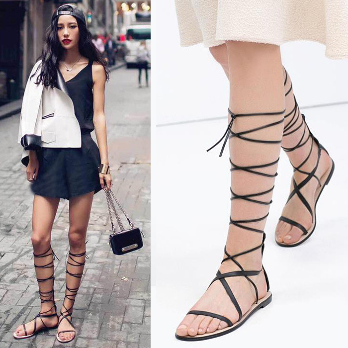 The 2015 summer European leather flat with high cylinder Rome lace up shoes a cool BOOTS