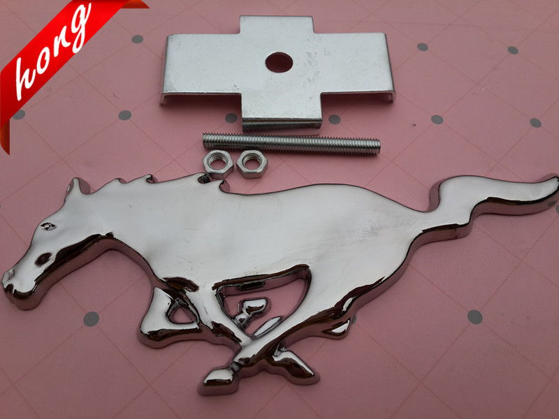 High quality 3D Chrome Mustang Running Horse car emblem Grill Badge Grille Emblem Side Badge stickers Free shipping Gas logo Gas(China (Mainland))