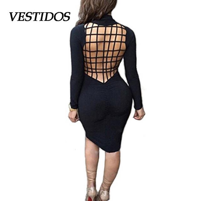 2016 женщины зима платье черный длинный рукав , платья повязки сексуальная спинки сетки пересекают теплые хлопок Bodycon осень платья