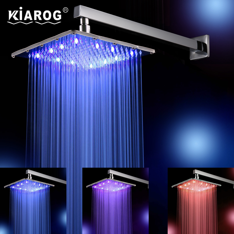 12 Inch Rain Led Shower Head With Wall Mounted Or Ceiling Mounted Shower Arm