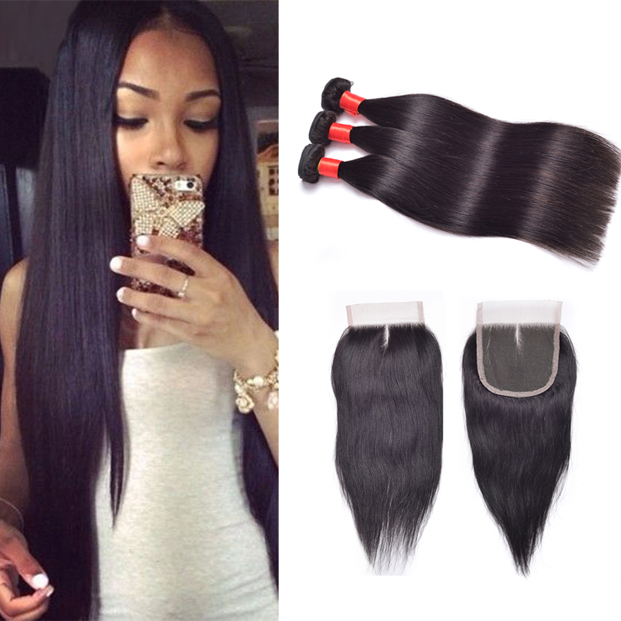 3Bundle Ms Lula Hair Company Malaysian Hair Weave Straight Closure With Bundles Grade 7A Unprocessed Straight Human Hair Bundles<br><br>Aliexpress