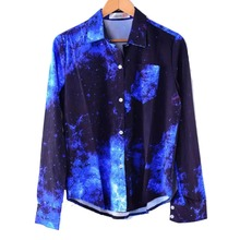 Fashion Shirt Women Galaxy Space Printed Chiffon Blouse Long Sleeves Top Ladies Blouses With Pocket Spring Summer Autumn #hhl07