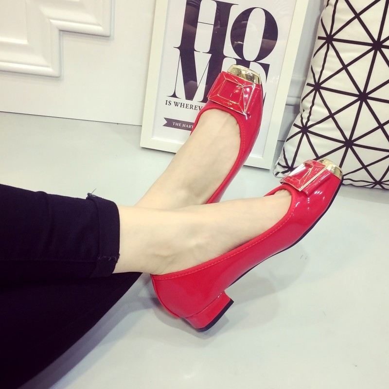 Brand Women Flats Shoes Spring Autumn Square Toe PU Button Slip On Low Heel Women's Shoes Ladies Casual Flat Heel Loafers Red
