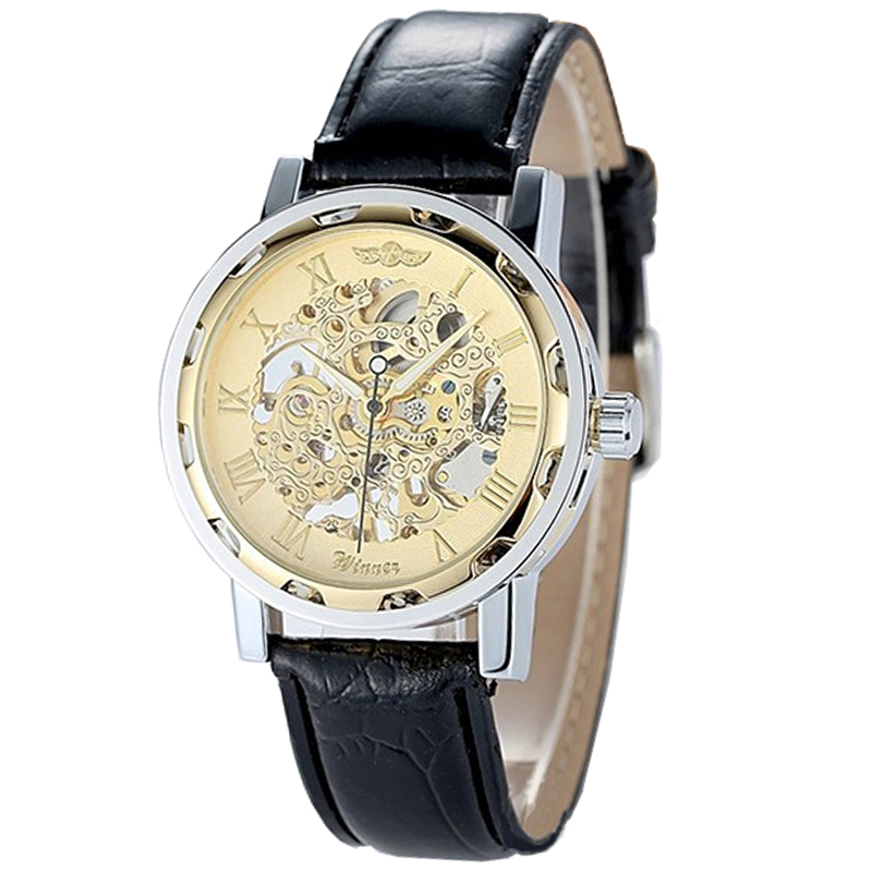Winner men 39 s mechanical watches vintage hollow skeleton mechanical leather watch men classic for Classic skeleton watch