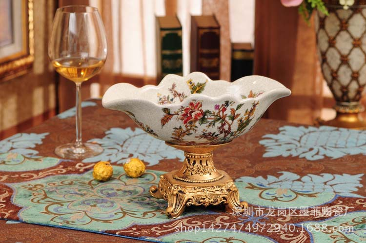 European ceramic fruit plate ceramic fruit bowl retro living room coffee table ornaments home accessories