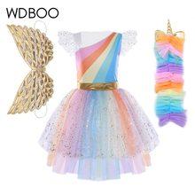 WDBOO niños niñas Pony malla tutú Arco Iris colorido drapeado fiesta Cosplay vestido + pelo aro alas Set Halloween vestido Ballet traje(China)