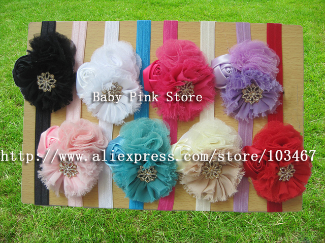 8pcs/lot  hot selling shabby flower with soft baby headbands girl hairbands hair accessories kids headbands