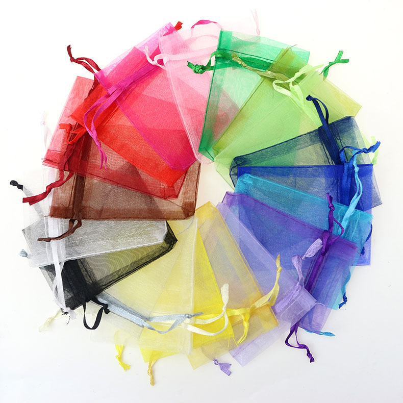 7x9cm 100pcs/lot Wholesale Drawable Multicolors Wedding Christmas Party Favor Gift Organza Bags Jewelry Packaging Bags & Pouches(China (Mainland))