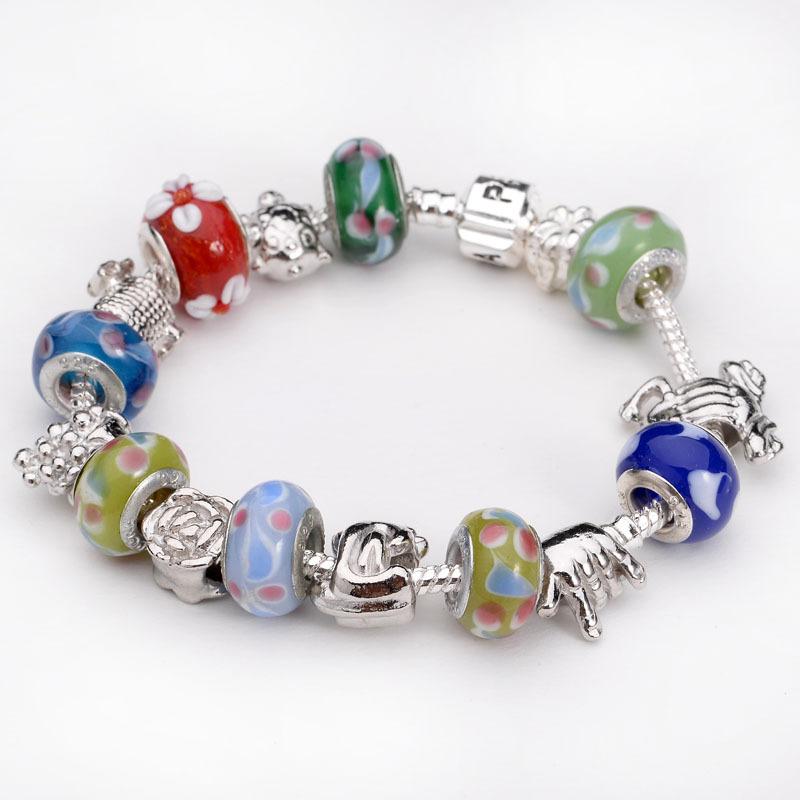 19 style silver snake chain bracelet european bead fit