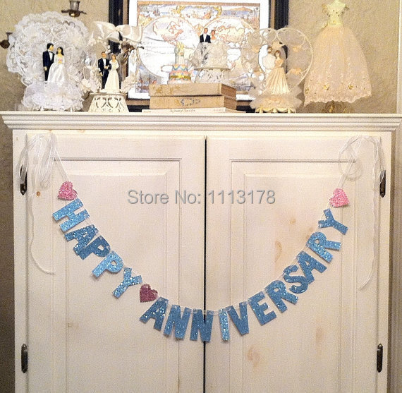 Cheap happy anniversary banner garland photo prop wedding for Anniversary decoration at home