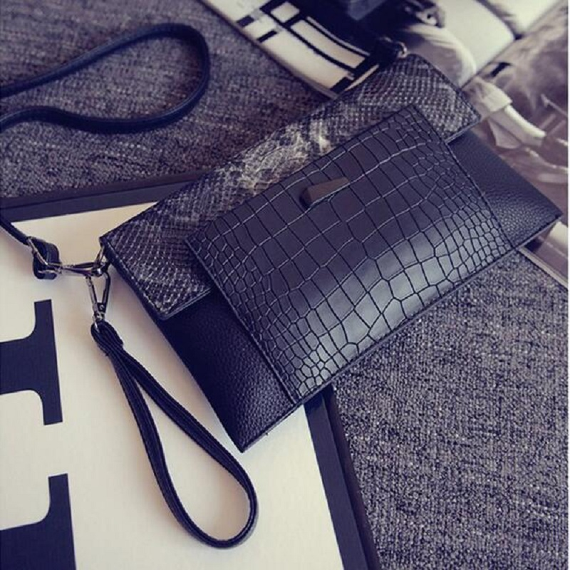 2016 new handbags Designers of standard luxury leather brand snakeskin Envelope Bag Day Clutches Purse Evening Party Bag(China (Mainland))