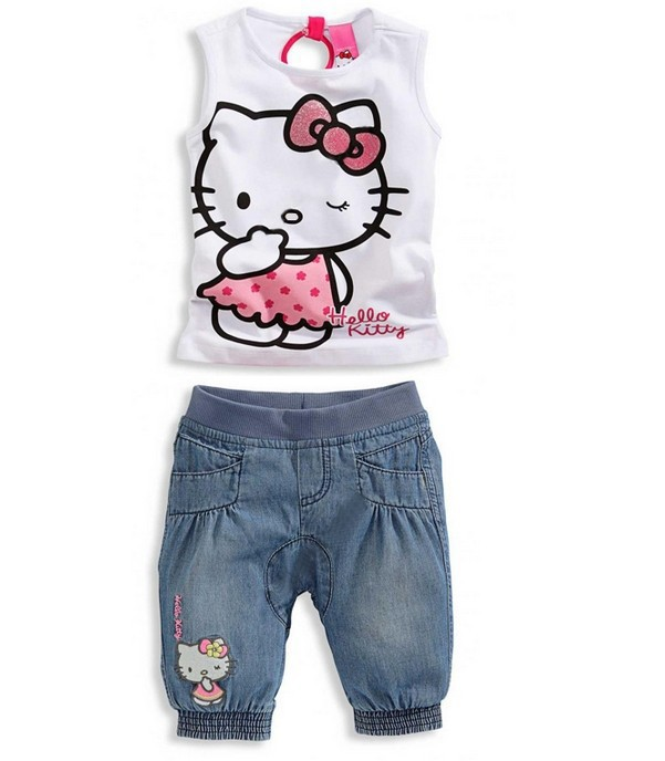 2015 NEW Baby girls clothing sets children's clothing set baby girl lovely hello kitty Kids suit free shipping and retail(China (Mainland))