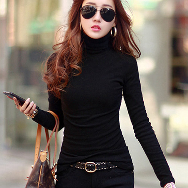 Western wear a look at top 6 kinds of ladies tops for Long sleeve black turtleneck shirt