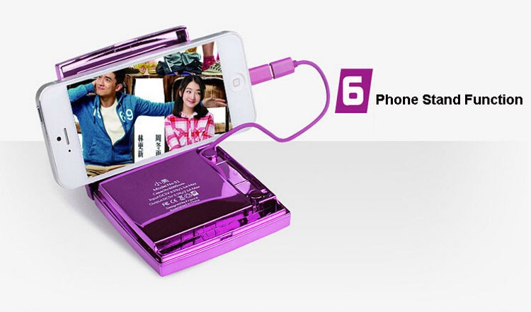 Original Albaasaa 6000mAh Power Bank Portable External Battery Bateria Charger Lady Makeup Mirror For iPhone 6 Plus/Xiaomi Phone