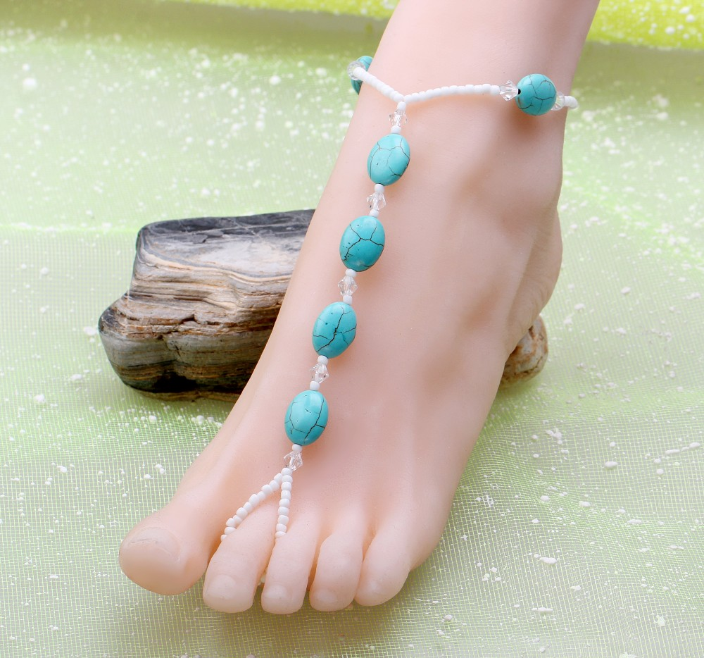 Fashion woman plating gold silver chain Anklets summer imitation pearl crystal beaded Anklets beach stone jewelry gift
