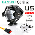 1 PCS 125W 2 Color Motorcycle Motorbike Headlight 3000LM Upper Low Beam Flash CREE Chips U5