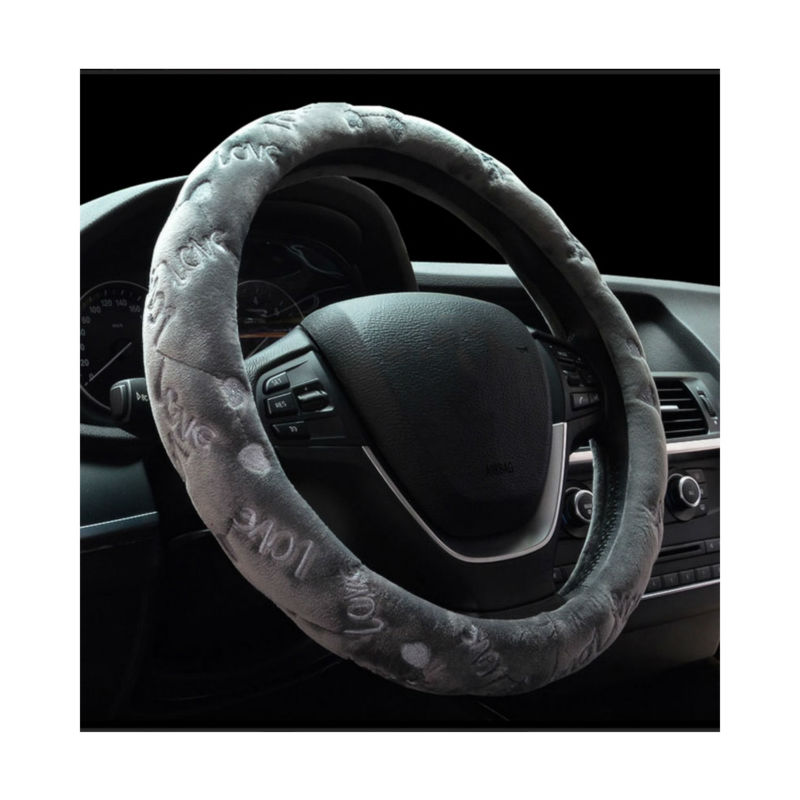 Universal Car Steering-Wheel Cover winter Warm love printing velvet steering wheel cover funda volante housse volant voiture(China (Mainland))