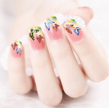 Min.order is $5 Water Transfer Nail Art Stickers Decal Multi Color Butterfly Design Half Wraps French Manicure Foils Stamp Tools(China (Mainland))