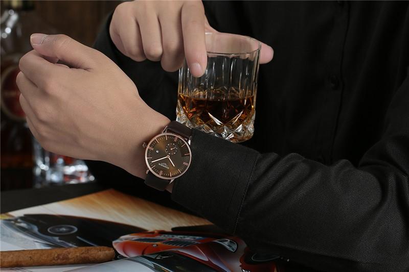 Мужские Часы Новый Люксовый Бренд GUANQIN Натуральная Кожа Часы Мужчины Водонепроницаемый Повседневная Спорт Часы Мужские Наручные Кварцевые Часы