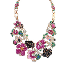 New design fashion shourouk Jewelry Luxurious big flowers necklace Gold Plated bohemian Crystal Statement necklace long