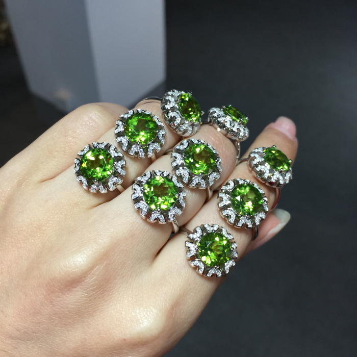 925 pure silver inlaying silver natural peridot ring beautiful sunflower pattern Women Jewelry Free Shipping certificate book(China (Mainland))