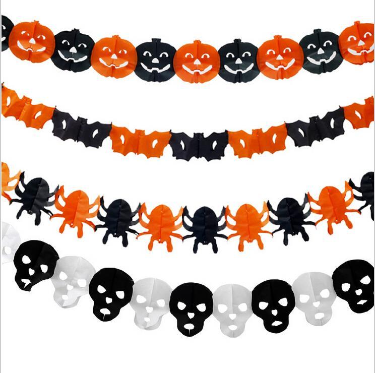 Paper Chain Garland Decorations Pumpkin Bat Ghost Spider Skull Shape Halloween Decor Garland IC873957(China (Mainland))