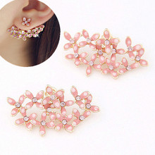 Big Flower Earrings for Women Fashion Double Sided Gold Stud Earring Enamel Ear Cuff Brinco Boucle Pendientes Femme Bijoux(China (Mainland))
