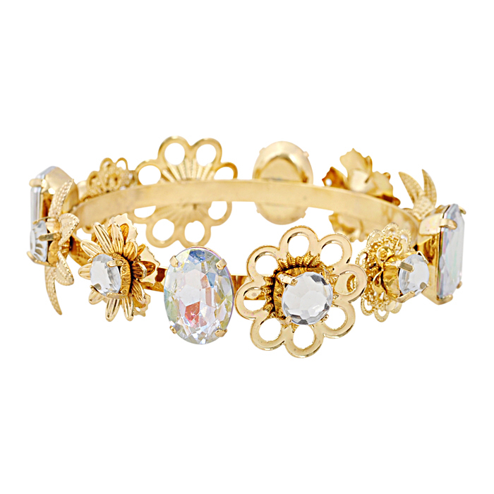 New Fashion Crystal Flowers Golden Bangle Cute Daisy Bangle Lovely Golden Bangle For Women Crystal Flowers Golden Bangle(China (Mainland))