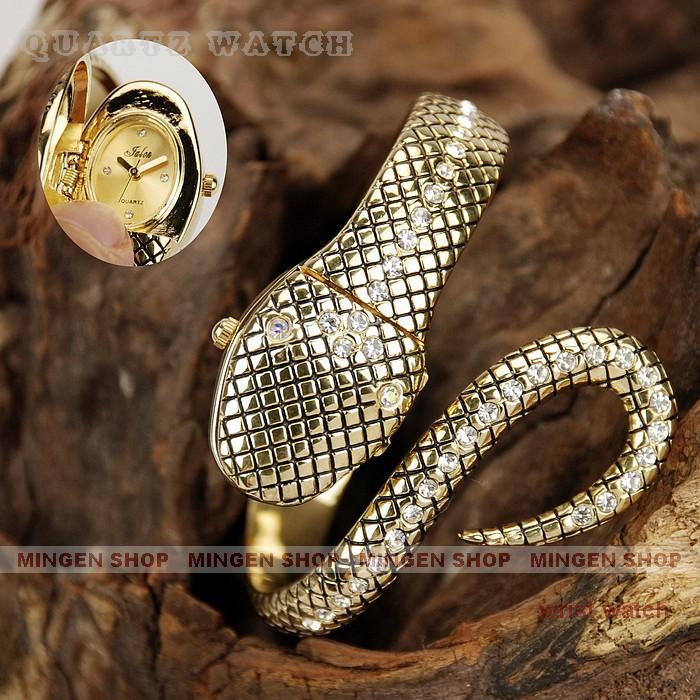 Fashion Dramatic Mode Hidden Face Silvery Black Gold Snake Bracelet Jewelry Rhinestone Crystal Watch Women Party Dress Accessory - fashion watch store