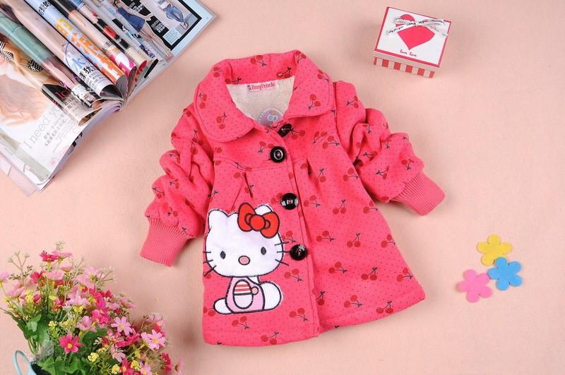 new baby girl winter coat 2015 Children Outerwear, girls Hello Kitty Winter Coat, baby& kids jackets, girl's clothing(China (Mainland))
