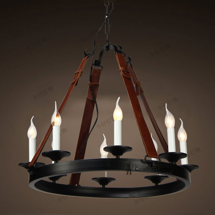candle chandelier real leather leather belt leather shop dining room