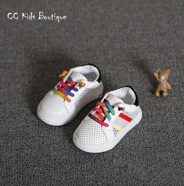 2016 весна мальчиков мода кроссовки дети сетка обувь девушки белые кроссовки марка ...